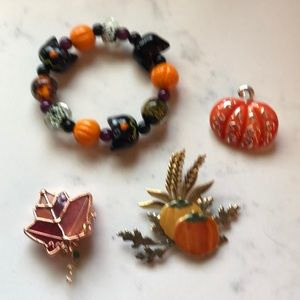 Fall Halloween Glass Bead Bracelet & Pins